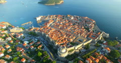 Aerial view of beautiful Old Town of Dubrovnik at sunset Stock Footage