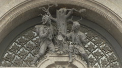 Statues above the entrance of Palais Equitable, Vienna Stock Footage