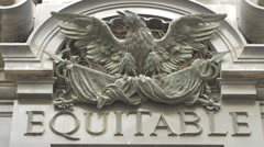 Equitable sign and an eagle above the entrance of Palais Equitable, Vienna Stock Footage