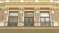 Building with caryatids in Vienna Stock Footage