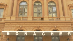 Ronacher Theater sign on the facade of the building, Vienna Stock Footage