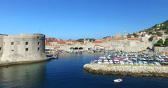Fort St. Ivan and Old town harbour in Dubrovnik Stock Footage