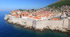 Aerial view of city walls in Dubrovnik Stock Footage