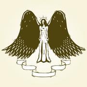 Stock Illustration of Woodcut angel