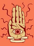 Woodcut fortune teller - stock illustration