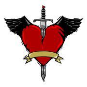 Woodcut heart - stock illustration