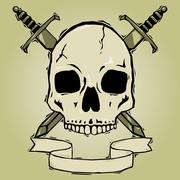 Skull with swords woodcut - stock illustration