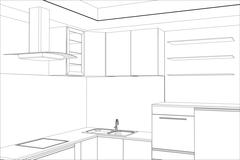 Facade kitchen vector sketch interior. Illustration created of 3d - stock illustration