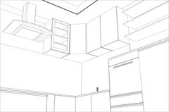 Kitchen vector sketch interior. Illustration created of 3d - stock illustration