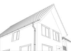 Vector sketch of the cottage with a roof Stock Illustration