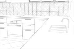 Abstract sketch design interior kitchen. Illustration created of 3d - stock illustration