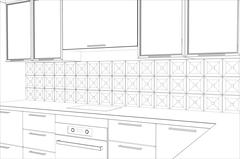 Bstract sketch design interior kitchen. Illustration created of 3d Stock Illustration