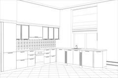 Facade kitchen vector sketch interior. Illustration created of 3d Stock Illustration