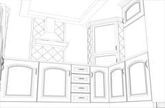 Facade kitchen vector sketch interior. Illustration created of 3d - stock illustration
