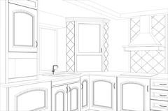 Sketch plan kitchen in the wire - stock illustration