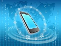 Mobile phone icons surrounded by information messages Stock Illustration