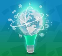 Lower part of lamp with planet at the top and icons Stock Illustration