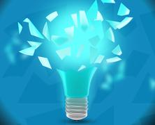 Broken bulb into small pieces with a bright turquoise glow Stock Illustration