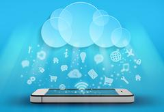 Icons fall from the clouds on a mobile phone Piirros