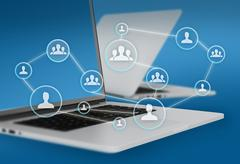 Group of people icons connected to network and laptops in the background - stock illustration