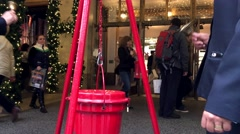 Salvation Army Bell Ringers in NYC - stock footage