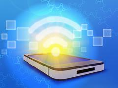 Mobile phone and wi-fi icon with sun rays Stock Illustration