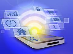 Mobile phone and wi-fi sign surrounded by information icons Stock Illustration