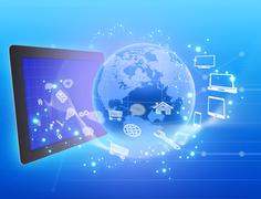 tablet and globe with spinning around icons - stock illustration