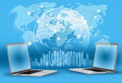 Laptops, globe and world map. skyscrapers on blue background Stock Illustration