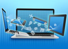 spinning icon before the tablet and laptop - stock illustration