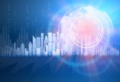 planet with rays and the city skyscrapers on back background - stock illustration