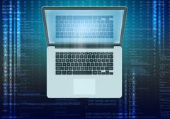 laptop with reflection in the screen and computer code - stock illustration