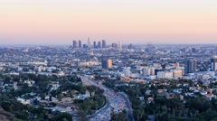 4K timelapse of Los Angeles downtown cityscape from Hollywood Bowl Stock Footage