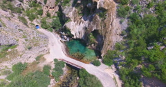 Aerial view of source of river Krka Stock Footage