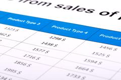 Financial report sales in the form table on paper - stock photo