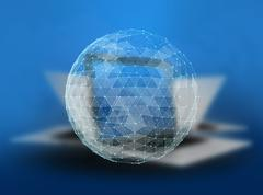 Abstract global telecommunications internet network of the world on blurred Stock Illustration