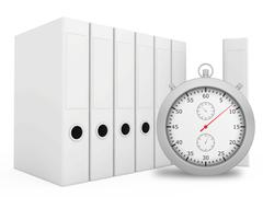 Office blank folder with stopwatch in front. White background - stock illustration