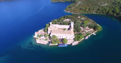 Aerial view of Benedictine monastery on Mjlet island, Croatia Stock Footage