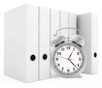 Office blank folder with alarm-clock in front. White background Piirros