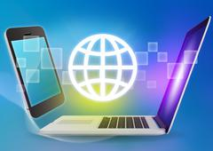 Laptop and phone with globe icon on a blue background Stock Illustration