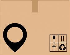 background cardboard box with location icon - stock illustration