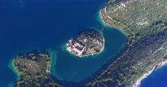 Aerial view of Benedictine monastery on Mjlet island, Croatia - stock footage