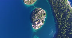 Aerial view of Benedictine monastery on Mjlet island, Croatia - stock footage