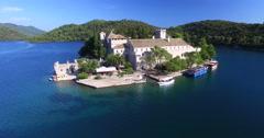 Aerial view of motorboat on Mljet island, Croatia - stock footage