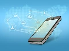 Mobile phone with icon of people Stock Illustration