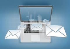 Receiving mail on a personal computer - stock illustration