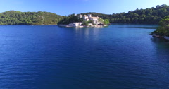 Aerial view of St. Mary island on island of Mjlet, Croatia - stock footage