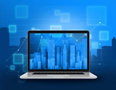 Laptop with skyscrapers Stock Illustration