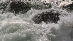 Close-up whitewater and rounded rocks in a river - stock footage