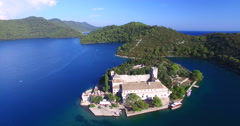 Aerial view of Benedictine monastery on the island of Mjlet, Croatia Stock Footage